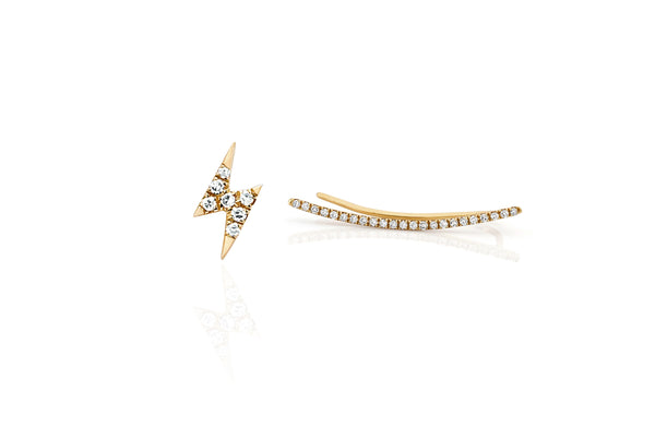 Diamond Curved Bar Ear Cuff & Lightning Bolt Stud Earring
