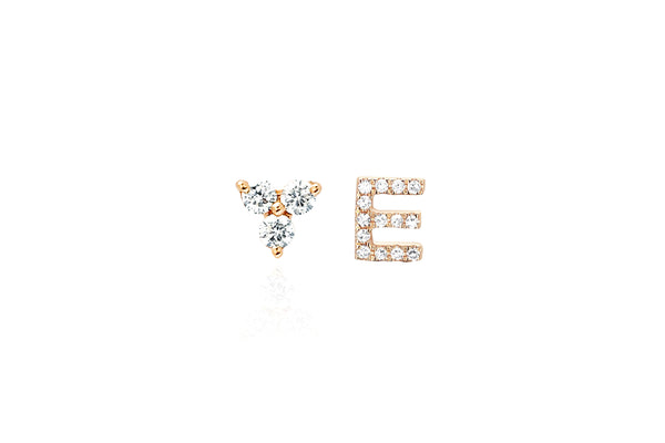 Diamond Trio Stud & Initial Stud Earring