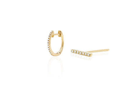 Diamond Bar Stud Earring & Mini Huggie Earring