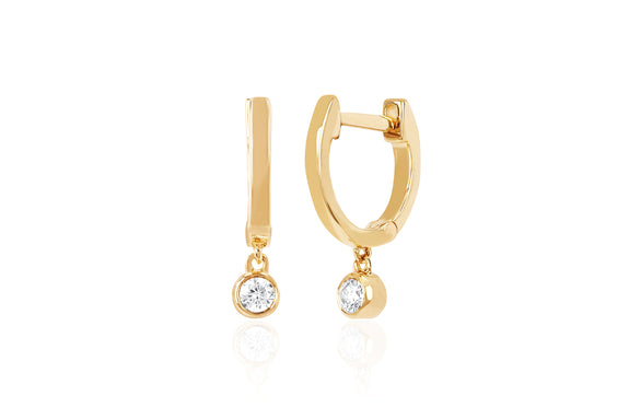 Gold Mini Huggie Earring With Diamond Bezel Drop Earring