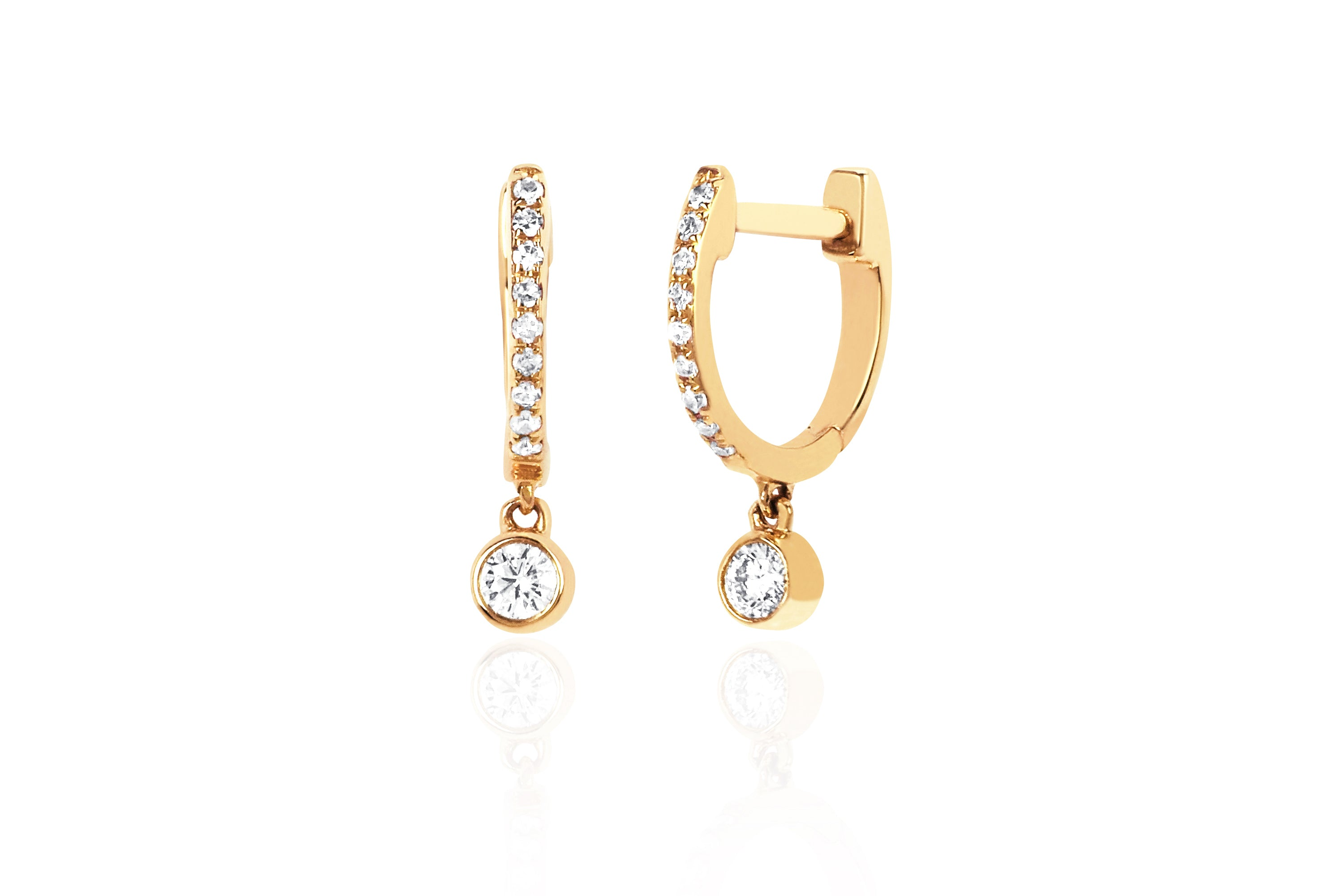 Diamond Mini Huggie With Diamond Bezel Drop Earring