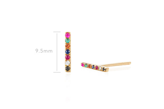 Diamond Rainbow Bar Stud Earring