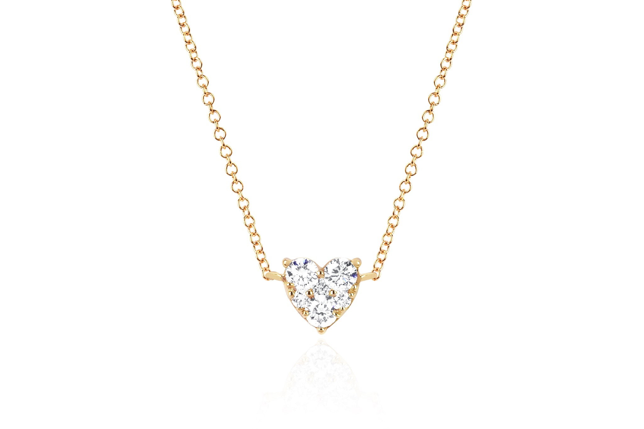EF Collection 14K Full Cut Diamond Heart Necklace