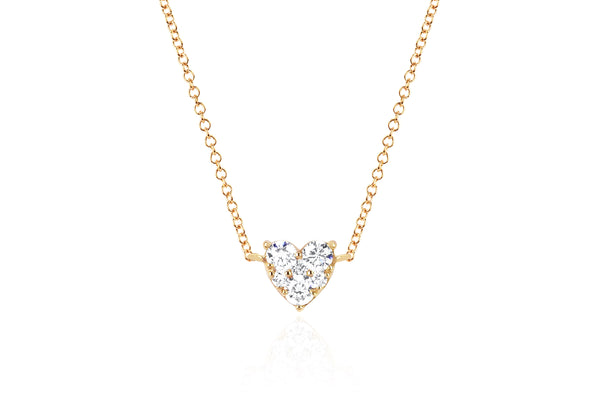 Full Cut Diamond Heart Choker Necklace