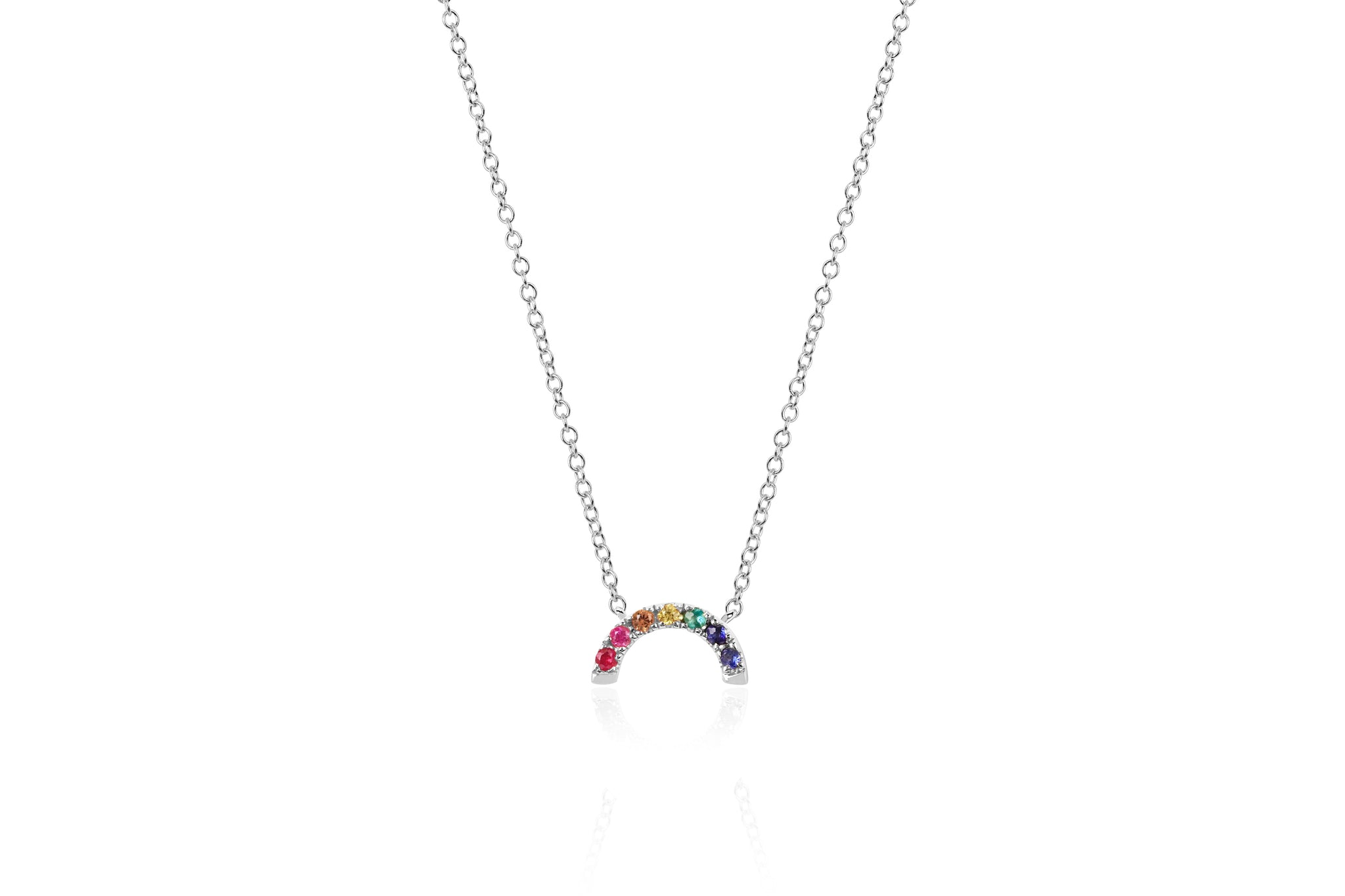 EF Collection 14k Gold Rainbow Necklace 8CaCb