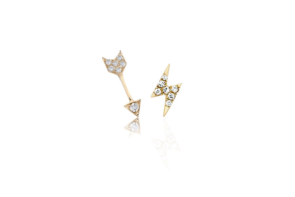 Diamond Mini Arrow Stud & Diamond Mini Lightning Bolt Stud Earring