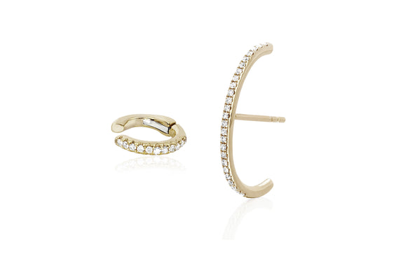 Single Diamond Cartilage Ear Cuff & Diamond Ultra Huggie Earring