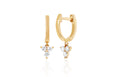 Gold Mini Huggie With Diamond Trio Drop Earring