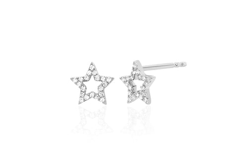 Diamond Open Star Stud Earring