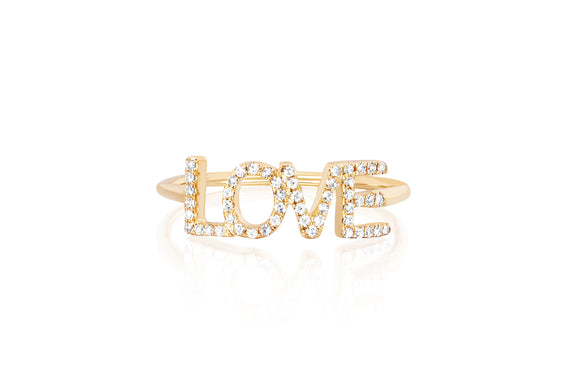 Diamond Love Ring (Block Letters)