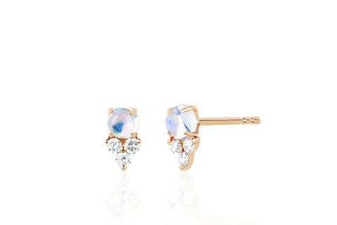 Diamond Trio Moonstone Stud Earring