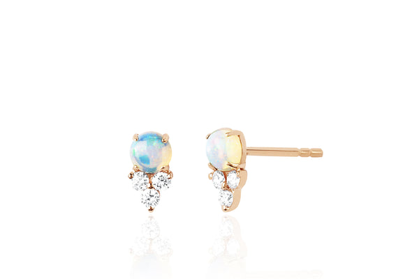 Diamond Trio Opal Stud Earring