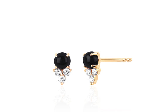 Diamond Trio Onyx Stud Earring