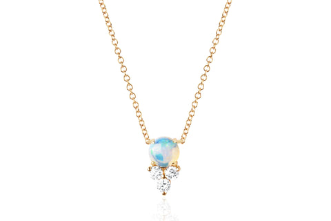 Diamond Trio Opal Necklace