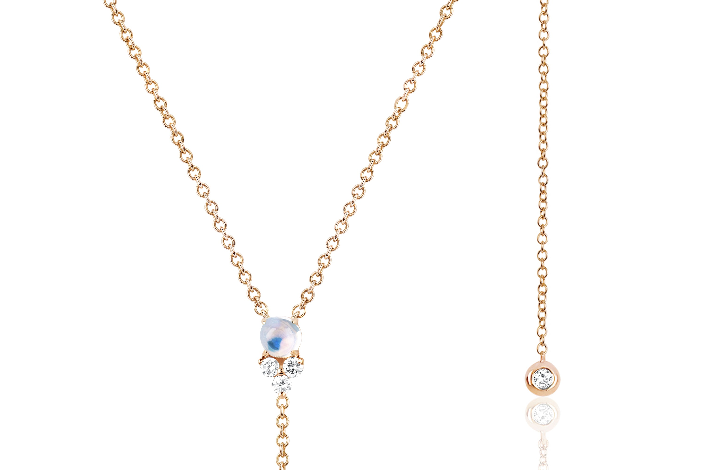 Diamond Trio Moonstone Lariat Necklace