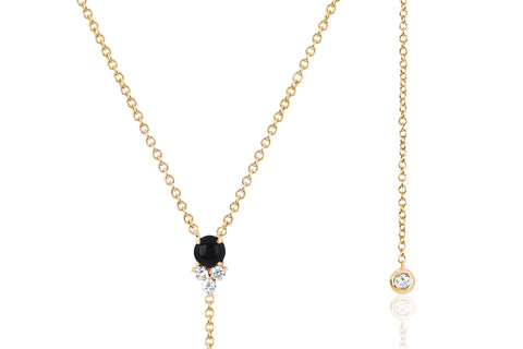Diamond Trio Onyx Lariat Necklace