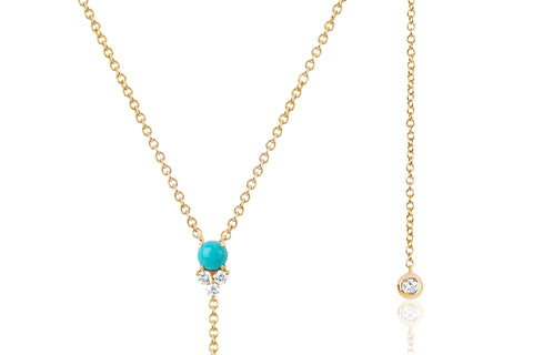 Diamond Trio Turquoise Lariat Necklace