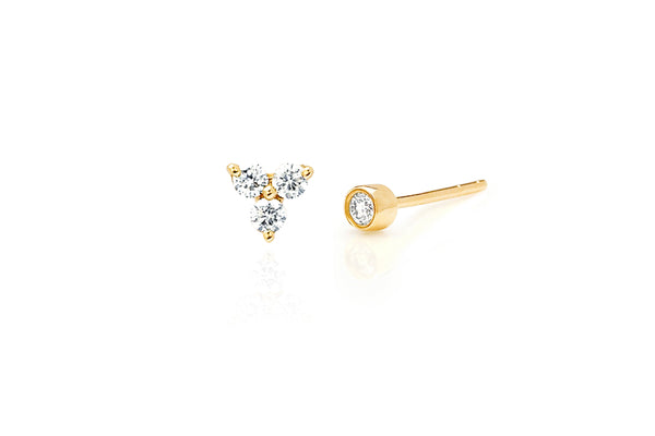 Diamond Trio Stud & Bezel Stud Earring