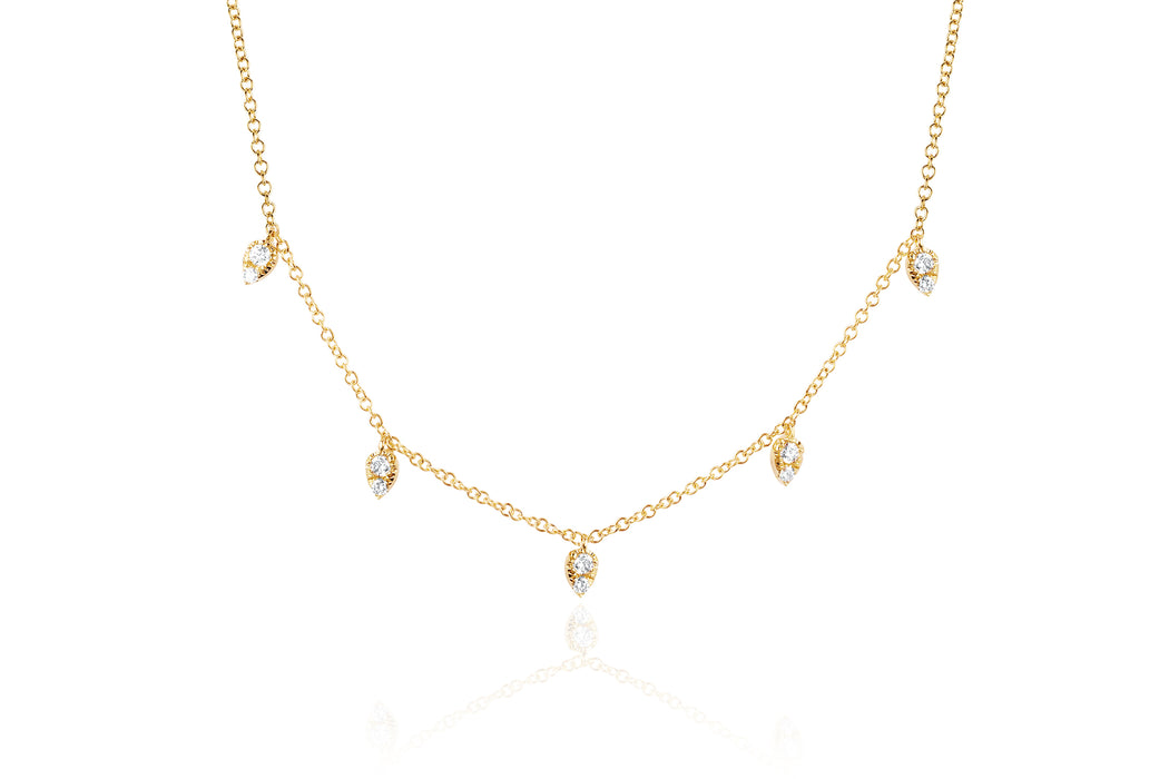 Diamond Multi Teardrop Choker Necklace