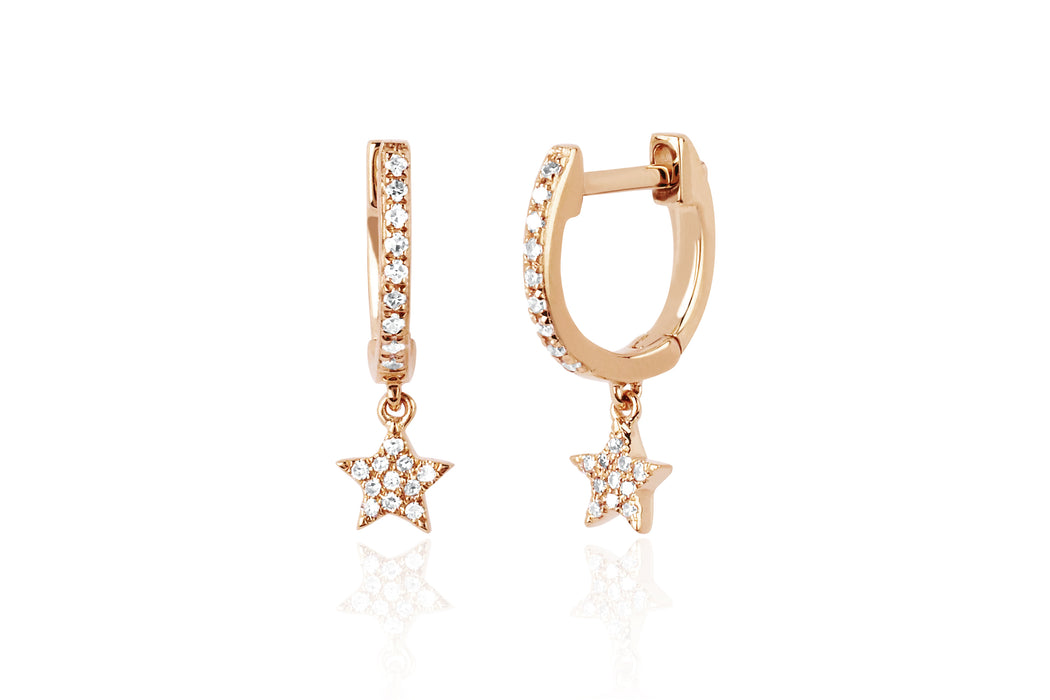 Diamond Mini Huggie With Diamond Star Drop Earring