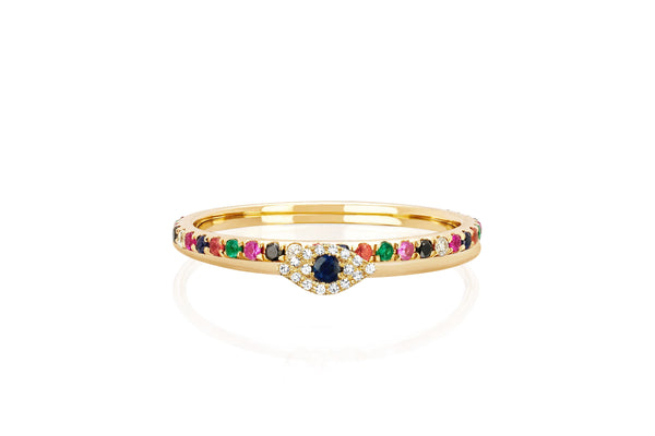 Diamond Mini Evil Eye and Rainbow Eternity Band Ring