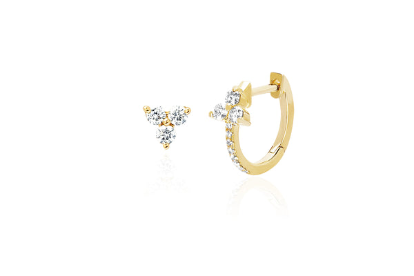 Diamond Trio Stud & Diamond Trio Huggie Earring