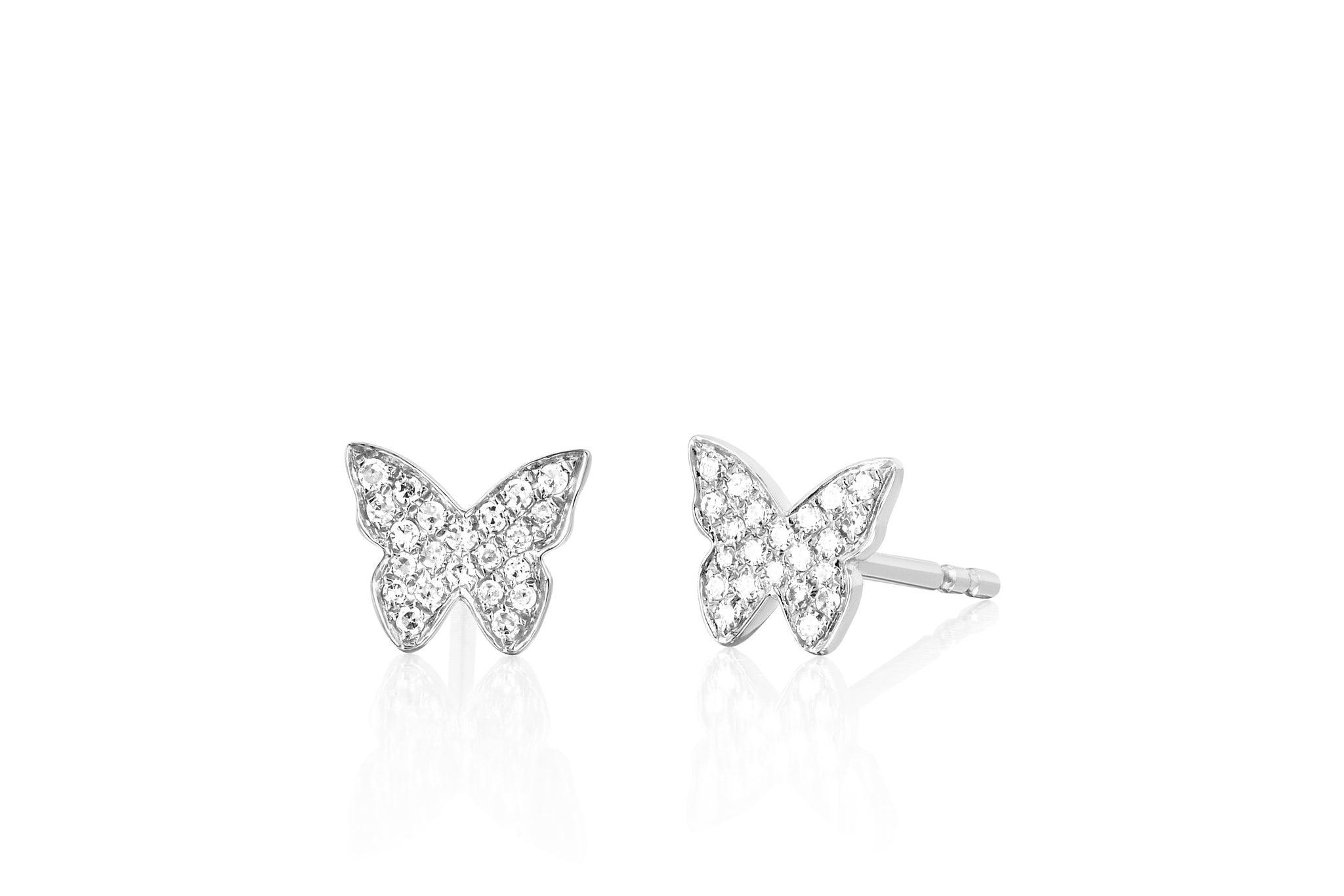 rhodium white stud earrings butterfly logo plated guess