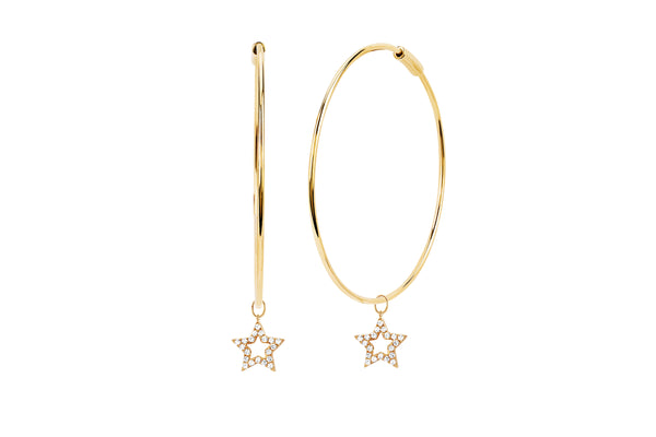 Perfect Gold Hoop With Diamond Open Star Huggie Charm Earring