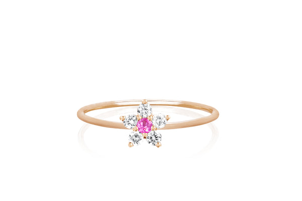 Diamond Pink Sapphire Flower Stack Ring