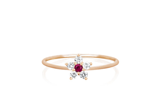 Diamond Ruby Flower Stack Ring