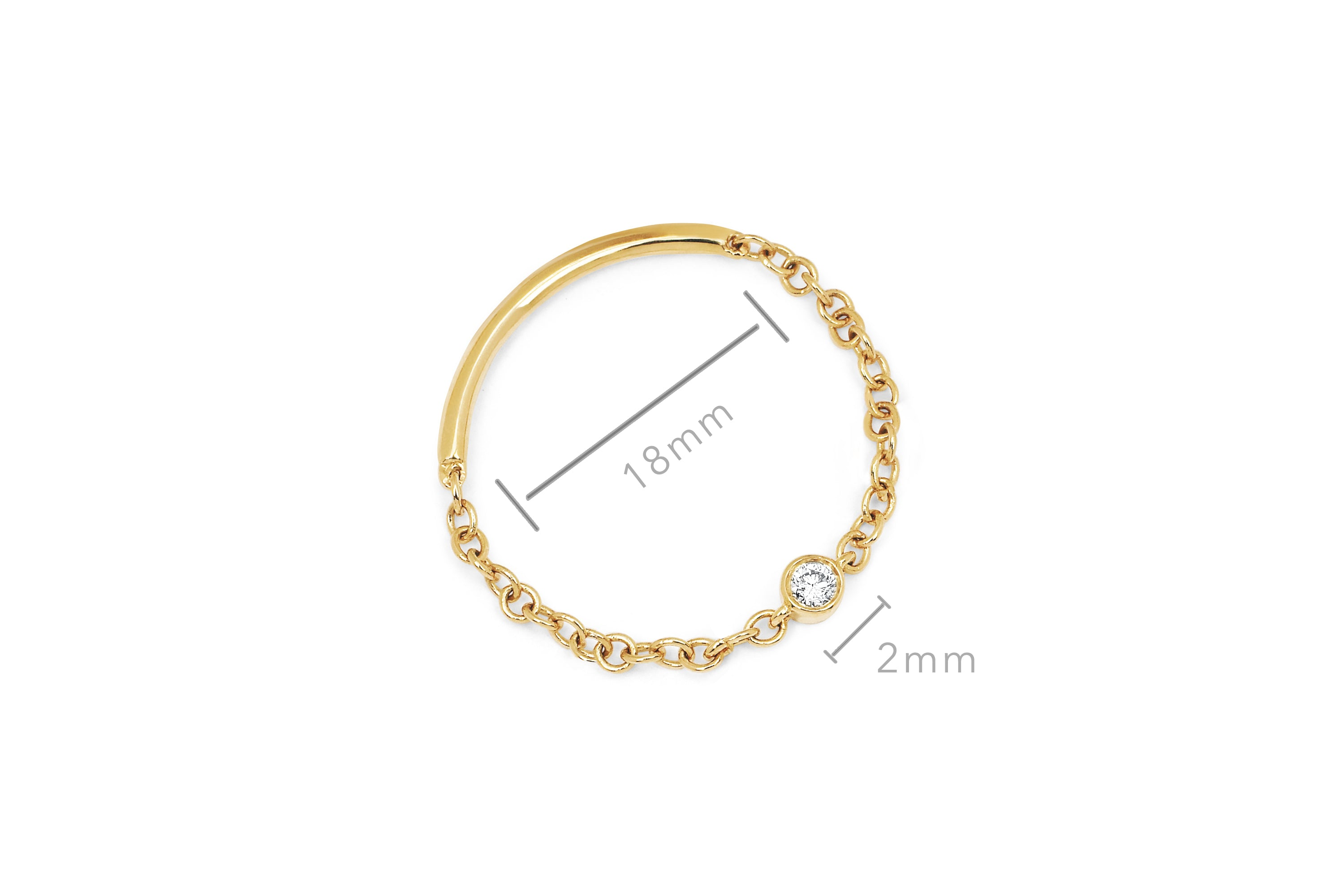 Diamond Single Bezel Chain Ring