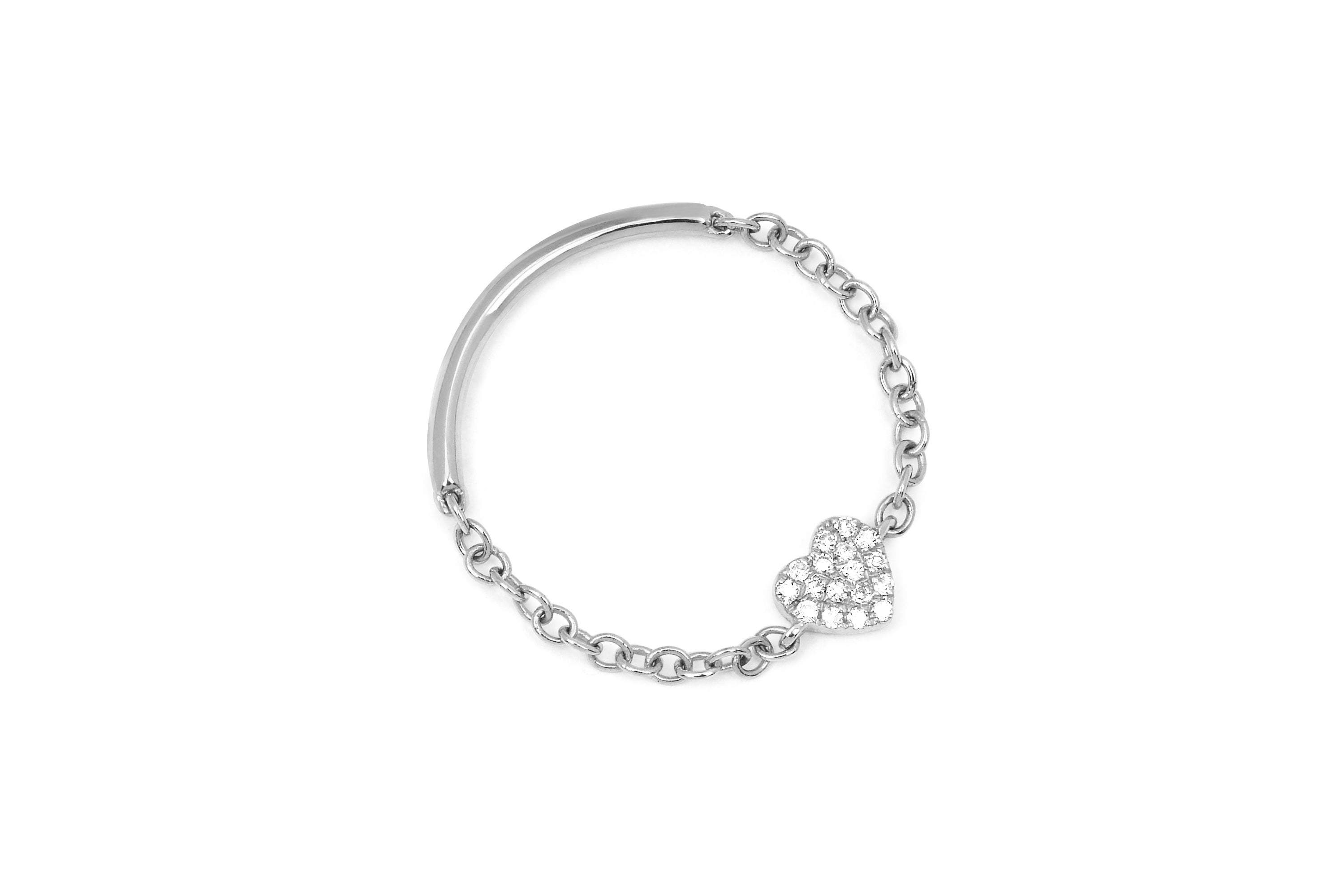 Diamond Mini Heart Chain Ring