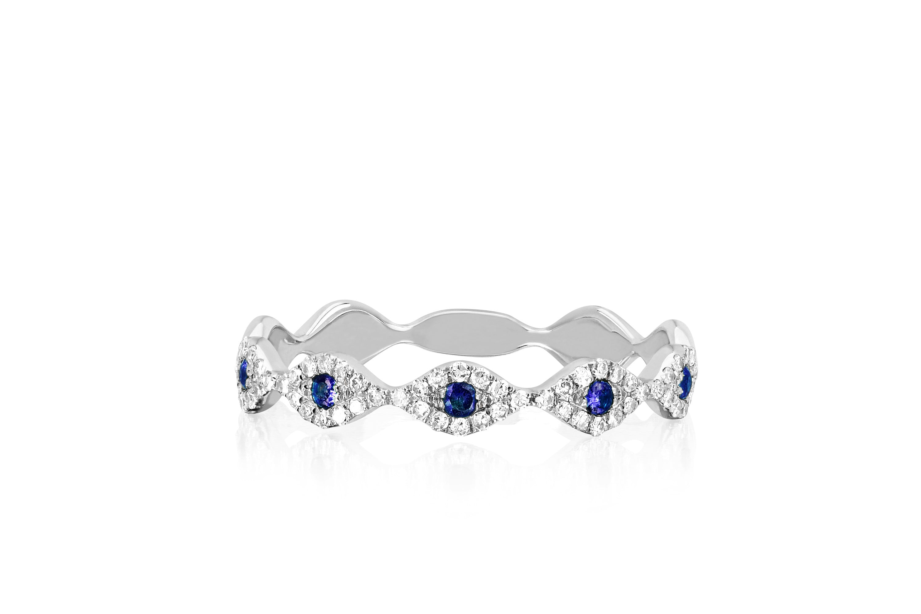 Diamond Blue Sapphire Multi Evil Eye Stack Ring