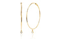 The Perfect Gold Hoop With Single Bezel Drop Earring