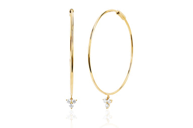 The Perfect Gold Hoop With Trio Drop Earring
