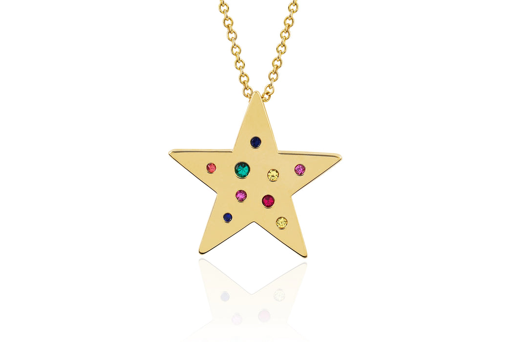 Rainbow Speckled Star Necklace