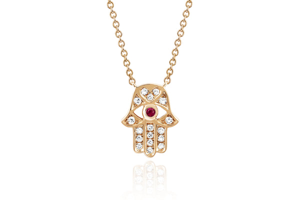 Diamond Hamsa With Ruby Eye Necklace