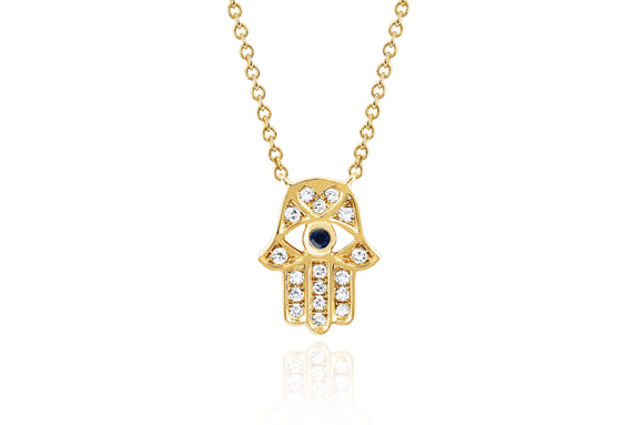 Diamond Hamsa with Blue Sapphire Eye Necklace