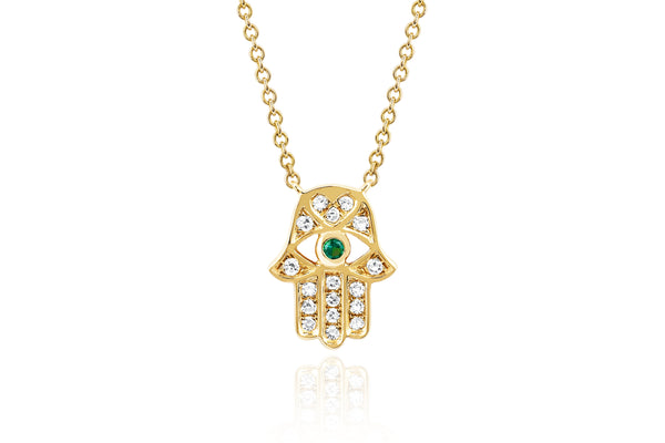 Diamond Hamsa with Tsavorite Eye Necklace