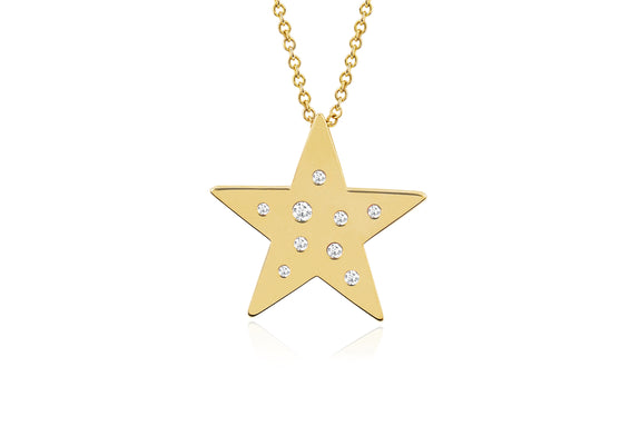 Diamond And White Sapphire Speckled Star Necklace