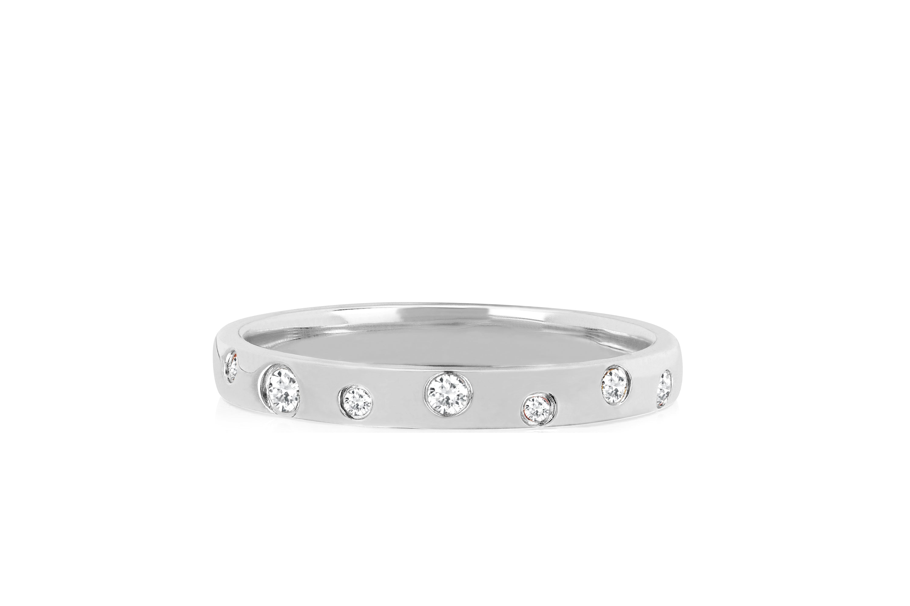 Diamond and White Sapphire Speckled Ring