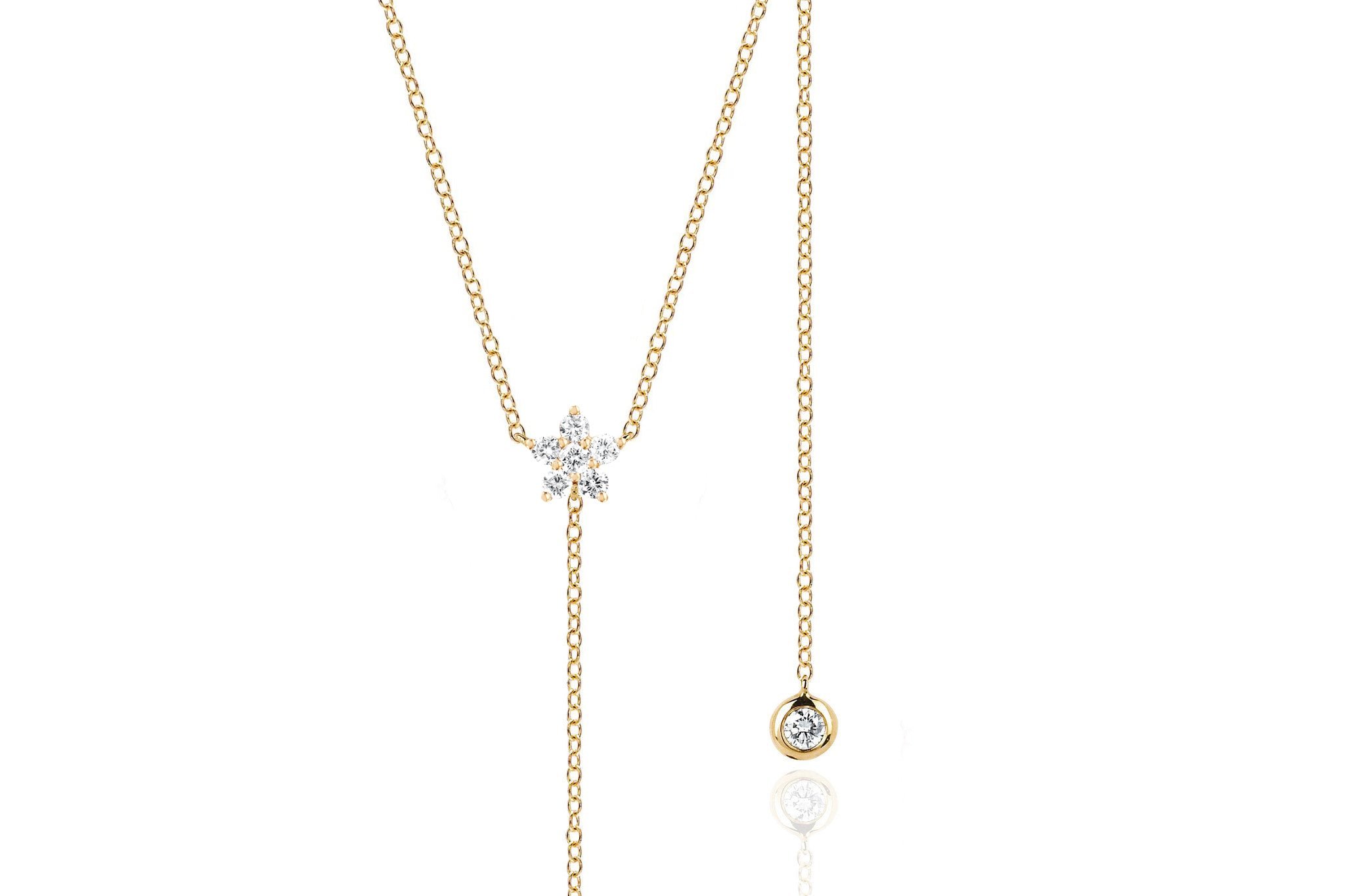Diamond Flower Lariat Necklace