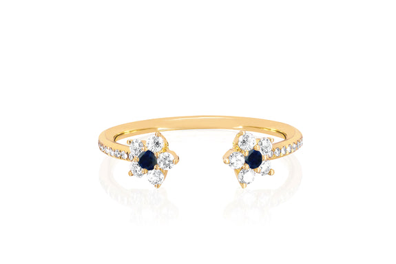 Open Diamond Blue Sapphire Flower Ring