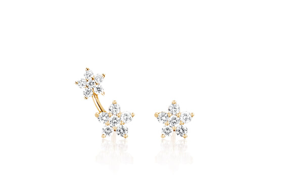 Diamond Flower Stud Earring Set