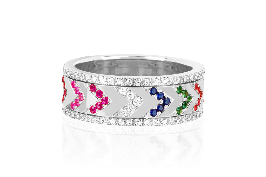 Multi Diamond Rainbow Chevron Spinning Ring
