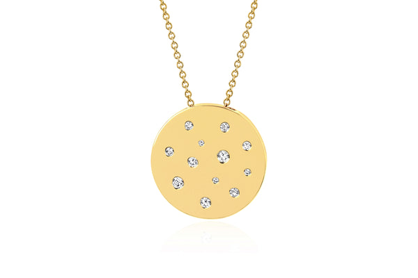 Diamond and White Sapphire Speckled Disc Necklace