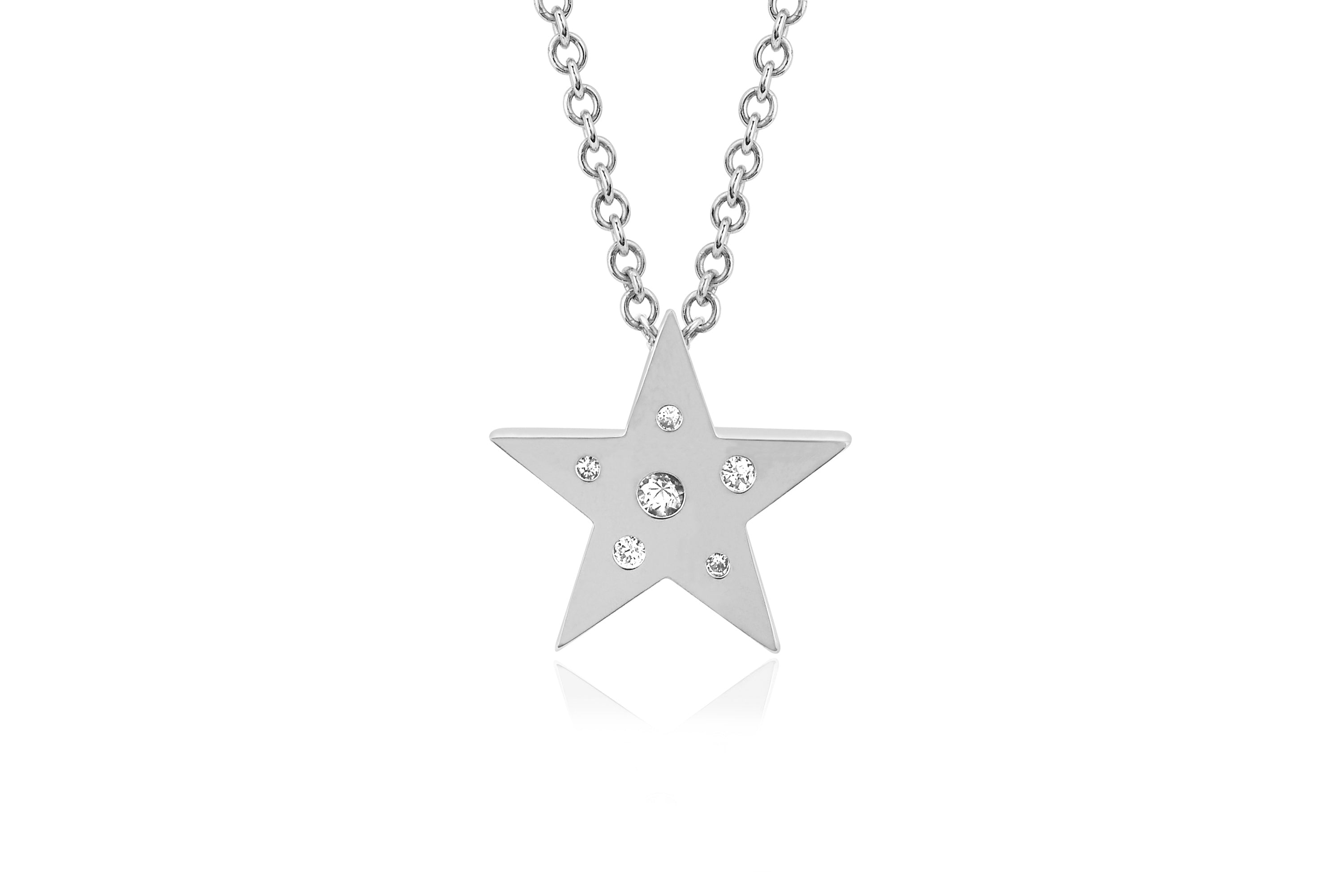 Mini Diamond & White Sapphire Speckled Star Necklace