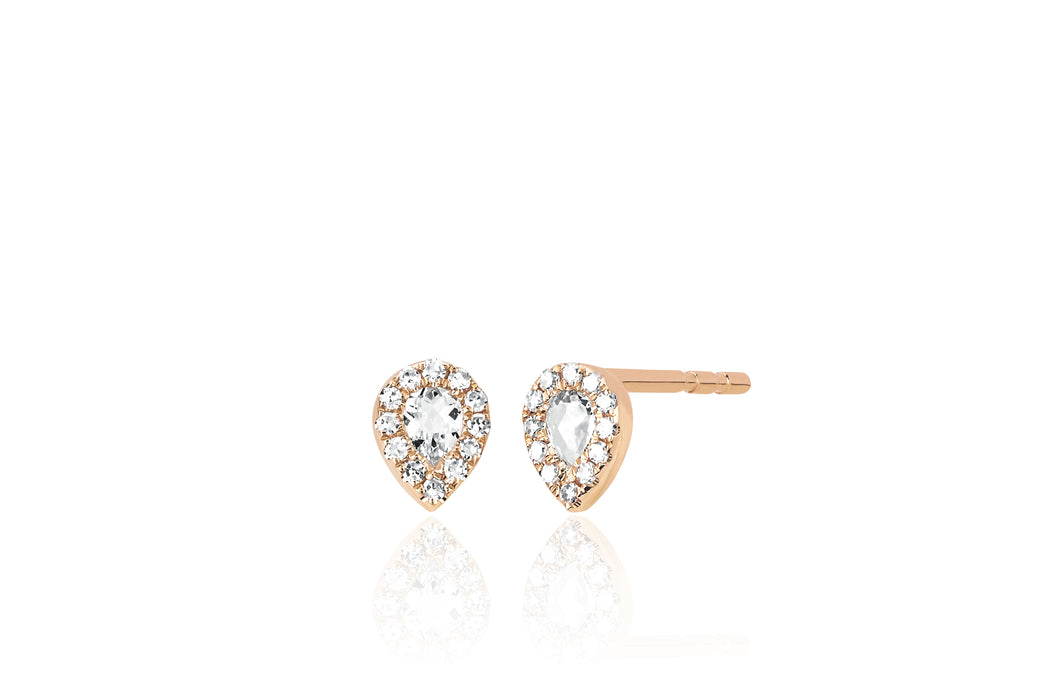 Diamond White Topaz Mini Teardrop Stud Earring