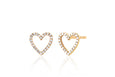 Diamond Open Heart Stud Earring