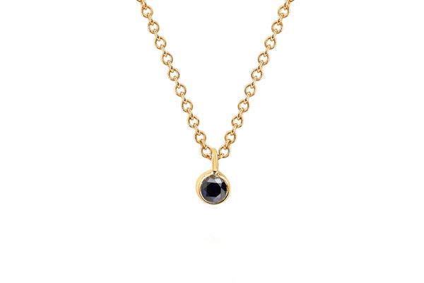 Single Black Diamond Bezel Chain Necklace